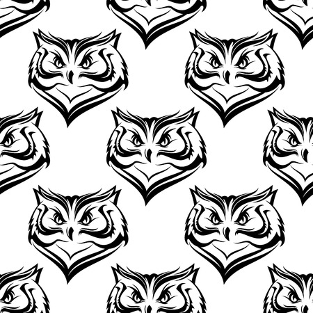 owl tattoo: Seamless white and black background pattern of the head of a fierce owl with repeat motif in square format