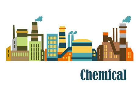"""적합: 가로 형식으로 흰색 배경 위에 절연 산업 및 기술 디자인에 적합 하단에 단어 """"화학""""와 산업 단지에서 모듬 공장과 식물 일러스트"""