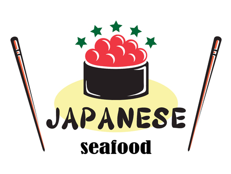 tempting: Red colored Japanese seafood design with red caviar, chopsticks and stars suitable for food industry isolated over white background Illustration