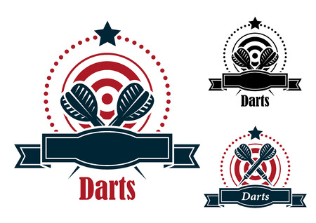 Darts sports emblems with crossed darts over a dart board with a blank ribbon banner and the text - darts - in three color variants an one with the darts in a different position for sporting or leisure design Vector