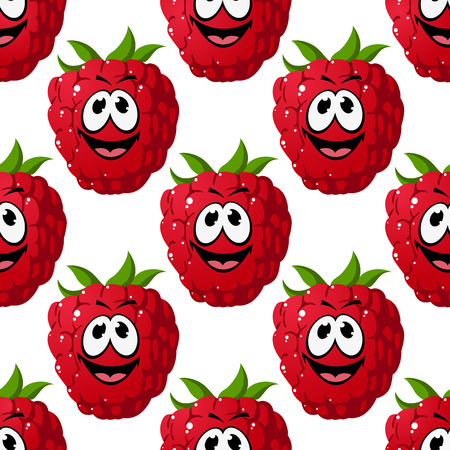 Happy ripe red raspberry seamless pattern with a goofy expression and colorful green stalk, in square format for wallpaper and fabric design Vector