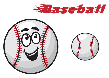 hardball: Two baseballs, one with a happy smiling face and other without face suitable for sports design isolated over white background in horizontal format