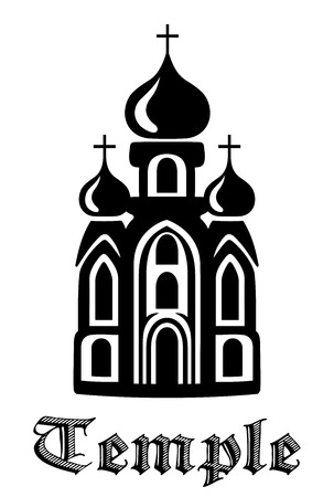 gothic design: Black and white silhouette Temple icon with with the front facade of the building with three onion domes and the text - Temple - beneath