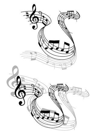 partition musique: Deux modèles différents niveaux de gris d'une partition de musique tournoyant avec des notes de musique et les perspectives pour la conception musicale Illustration