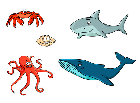 Set of marine sea life animals with red crab, red octopus, shark, seashell and whale in cartoon style Vector