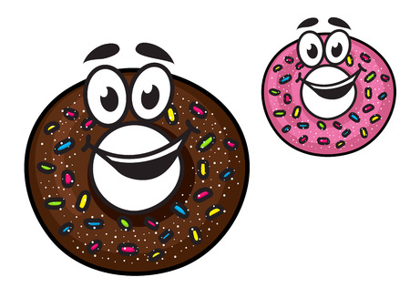Cute happy doughnuts with smiling faces decorated with colorful sprinkles in chocolate and pink icing, cartoon style Vector