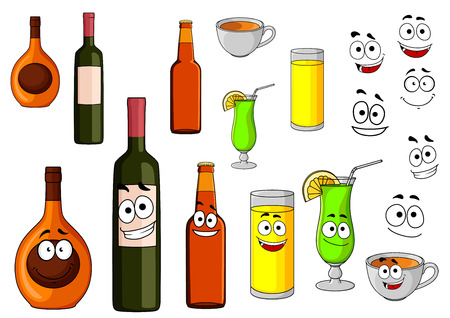 Beverage icons with a bottle of wine, tropical cocktail, liqueur, fruit juice, beer bottle and cup of coffee with happy cartoon smiling faces