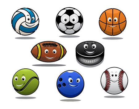 Set of cartoon sports balls equipment with a volleyball, basketball, soccer or football, rugby ball, hockey puck, tennis ball, bowls and baseball Vector