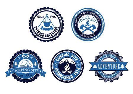 Set of five circular blue Outdoor Adventure and Camping emblems or labels with various text decorated with a tent, cooking fire, axes, mountains and ribbon banners Vector