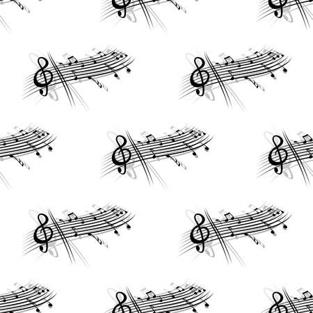 musical score: Music score and notes background seamless pattern with a short stave with a clef and section of musical notes in a repeat motif