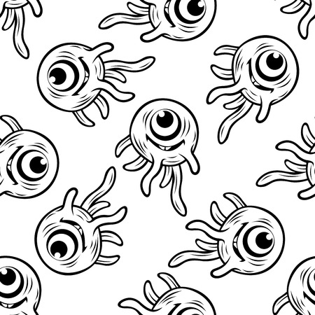 one eyed: Seamless background pattern of a black and white doodle sketch of a happy one eyed monster with tentacles