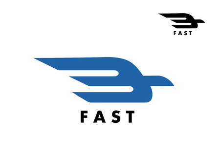 ail: Fast icon with a stylized bird in flight with trailing wings for delivery, air mail or transportation industry icon
