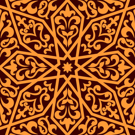Orange colored Islamic or Arabic seamless pattern with elements of ornament isolated over brown color in horizontal format