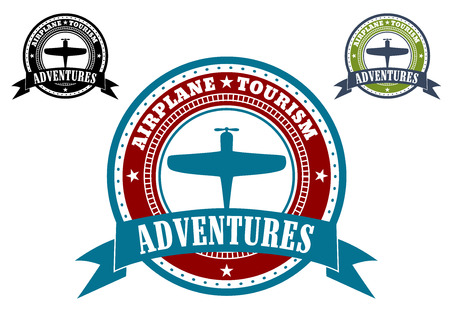 enclosing: Airplane Tourism emblems with a circular frame enclosing a silhouette of an aircraft and the text - Airplane Tourism - with the word Adventures in a ribbon banner