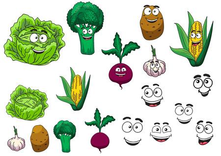 elote caricatura: Verduras comestibles frescos fijados con una lechuga, brócoli, papa, ajo, remolacha y maíz en la mazorca todos con felices caras sonrientes de dibujos animados