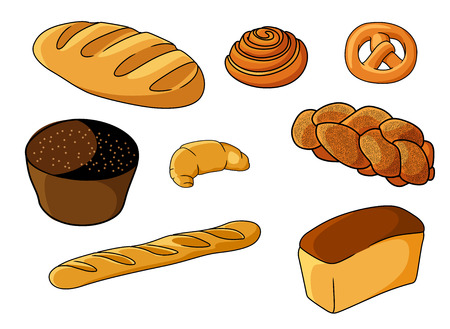 Assorted fresh cartoon bakery set with a crusty baguette, Danish pastry, pretzel, muffin, croissant, plaited loaf, white bread and roll, vector illustration on white Vector