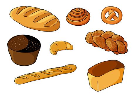 plaited: Surtido de panader�a fresca conjunto de dibujos animados con una baguette crujiente, pasteles daneses, pretzel, magdalenas, croissants, pan trenzado, el pan blanco y el rodillo, ilustraci�n vectorial en blanco