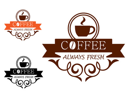Coffee Always Fresh label with a steaming cup of coffee above the text - Coffee - on a ribbon banner with an ornate curlicue frame below with - Always Fresh, three color variants
