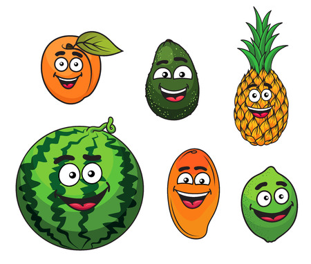 cartoon pineapple: Fresh tropical fruits set