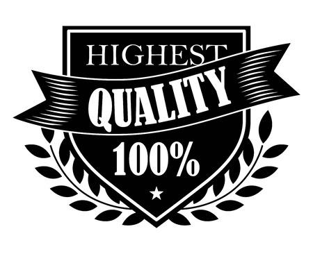 highest: Black colored Highest Quality 100% label