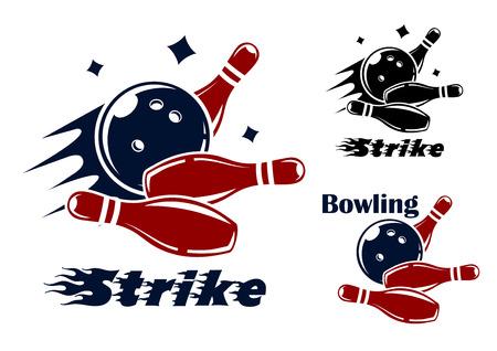 Bowling pictogrammen en symbolen met de tekst Stock Illustratie