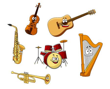 bass guitar: Set of classic musical instruments