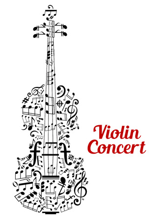 bass clef: Creative Violin Concert poster design  Illustration