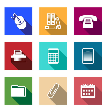 desktop printer: Flat office supply icons with a computer mouse, files, telephone, printer, calculator, PDA, folder, paper clip and a desktop calendar for application design