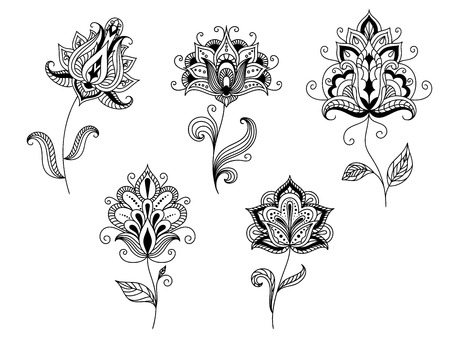 Ornate calligraphic black and white floral motifs in persian paisley style for design isolated on white background Illustration
