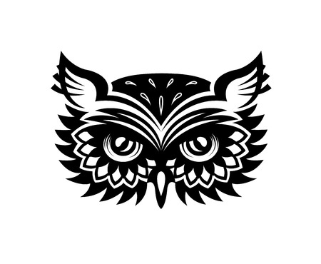 owl tattoo: Black and white wise old horned owl head with big eyes and feather for mascot or tattoo design