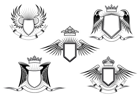 wings icon: Set of five black and white vintage heraldic winged shields in different shapes with crowns above the shield and a blank banner below, detailed calligraphic design elements Illustration