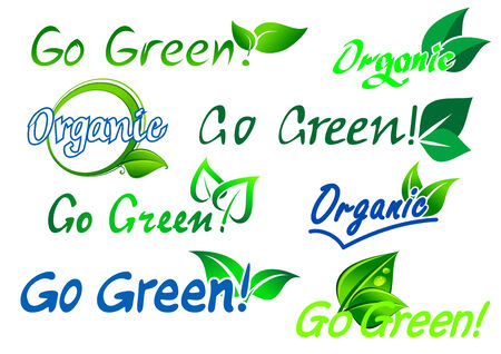 Set of colorful green and blue go green organic  labels with text and fresh green leaves isolated on white for any ecology design Vector
