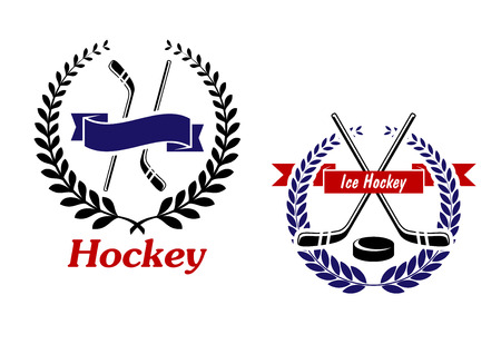 Hockey and Ice Hockey emblems or symbols with crossed sticks in a laurel wreath, one with the word - Hockey - below and one with a puck and text - Ice Hockey - in a ribbon banner Vector
