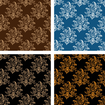 black and yellow: Set of seamless persian design pattern in brown, white and blue, brown and black, yellow and black color in horizontal format