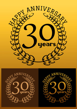 30 years: Laurel wreathes in three variations for anniversary and heraldry design with text Happy Anniversary 30 years. These icons depicts the completion of 30 years or 3 decades Illustration