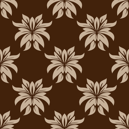 dainty: Dainty beige colored floral seamless pattern with decorative flower elements isolated over brown colored background in square format