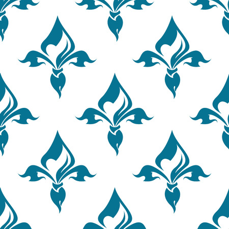 french symbol: Classical French blue colored fleur-de-lis seamless pattern with a repeat motif in square format suitable for wallpaper, tiles and fabric design