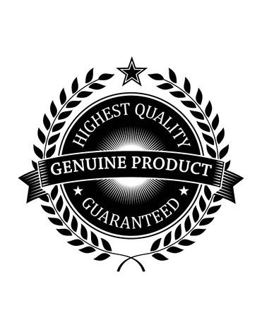 Altissima qualità genuina dei prodotti etichetta o un banner di colore nero per la progettazione settore retail isolato su sfondo bianco con corona di alloro, stelle e nastro Garantito Archivio Fotografico - 29914754