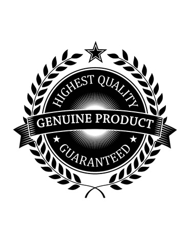 Highest Quality Genuine Product Guaranteed label or banner of black color for retail industry design isolated over white background with laurel wreath, stars and ribbon