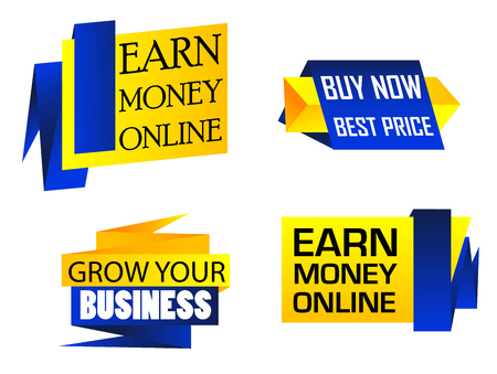 money online: Set of origami labels for business depicting Earn Money Online, Buy Now Best Price and Grow Your Business in yellow and blue color isolated over white background