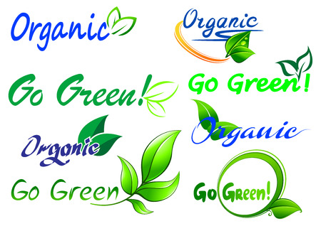 Go Green icons and symbols with text for fresh natural food, environment and ecology design Vector