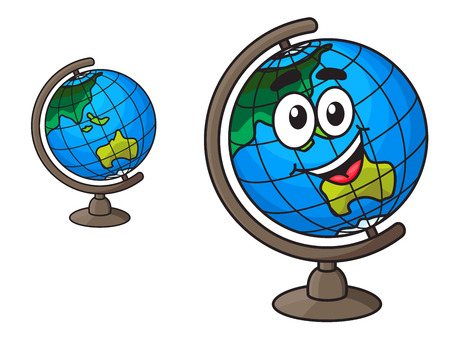 Colorful cartoon world globe with a laughing smile with a second variation with no face, isolated on white Çizim