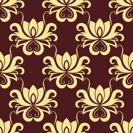 purple silk: Dainty bold beige colored floral seamless pattern with decorative flower elements isolated over purple colored background in square format