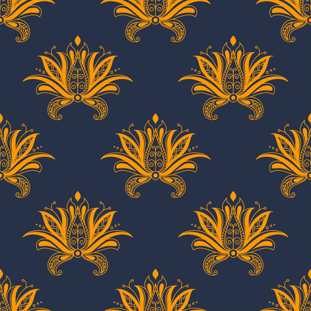 dainty: Dainty paisley persian yellow colored floral seamless pattern with decorative flower elements isolated over blue colored background in square format