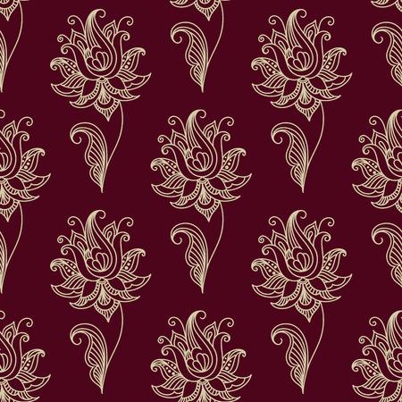 白い色ペイズリー シームレスな花柄壁紙、タイルおよびファブリック設計ペルシャ様式で正方形フォーマットのマルーン カラー背景の上分離