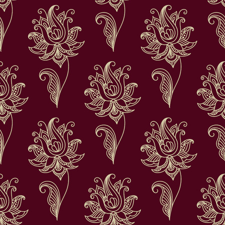 White colored Paisley seamless floral pattern in Persian style for wallpaper, tiles and fabric design isolated over maroon color background in square format