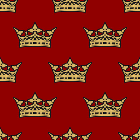 Golden crown seamless background pattern on a rich red background suitable for heraldry, wallpaper, tiles and fabric in square format Vector