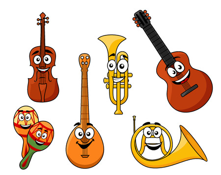 Set of musical instruments with smiling happy faces including a violin, banjo, rattles, horn, guitar and brass trumpet Illustration