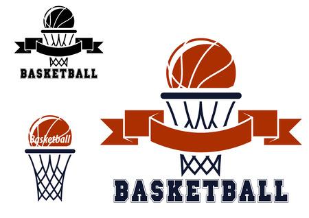 Basketbal emblemen of symbolen met mand en ballen voor sportieve ontwerp