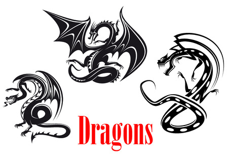 tribal dragon: Black danger dragons in tribal style for tattoo, mascot or fairytale design